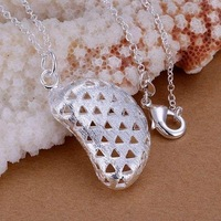 P224 fashion jewelry chains necklace 925 silver pendant The frosted soybean falling