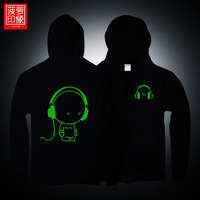 Luminous music lilliputian personality trend of the men's clothing autumn and winter with a hood cardigan zipper clothes