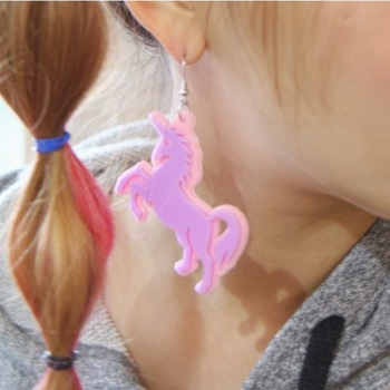 Free shipping Candy color sweet HARAJUKU unicorn earrings stud earring
