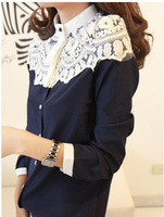 2013 spring patchwork lace chiffon long sleeve shirt women shirts