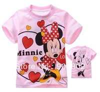 free shopping  Wholesale 6sets/lot Cartoon Mouse  girls summer clothes pink Short sleeve T-shirt kids clothing