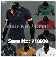 2014 Spring fashion Comfort men's small deer lapel Cotton t shirt, Szie: M - XXL, 6 color dropshipping