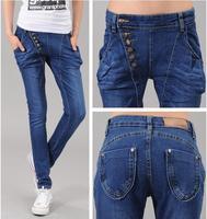 hot sale 2013 new arrival breasted jeans female skinny pencil pants trousers Harem Pants women long denim pants free ship A139
