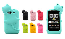 Fashion Cute Lovely Cat Soft Silicone Case Rubber Cover For HTC Wildfire S G13 New 8 colors(China (Mainland))