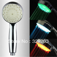 LED Temperature Control Romantic 3 Colors Light Bathroom Shower Head Free Shipping