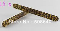 Freeshipping 15pcs/lot 100% High Quality Nail Care Tools Fashion Salon Leopard Desgin Manicure File Accessories 510B