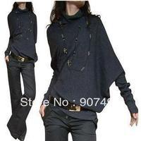 Best Selling!!2013 Fashion Ladies Loose Bat Shirt Big Yards Turtleneck Sweater Slim Bottoming Knitwear +Free Shipping
