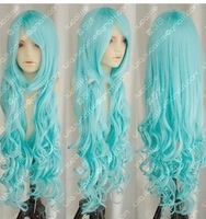 NEW light blue long curly cosplay full Women's WIG X029