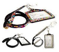 DHL free shipping New MIX color bling crystal lanyards rhinestone strap with ID badge holder