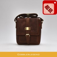 Quality ! Messenger bag male wax cowhide fashion vintage fashion brief 909189 vertical shoulder bag