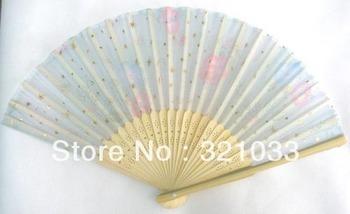 Free Shipping DHL Wholesale 200 Pcs Folded cloth fan gift fans hand fans