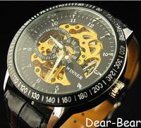 Luxury Wrist Watch Skeleton men's Mechanical watch,  6 pcs/lot, free shipping