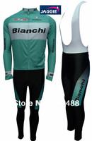 Winter!Free shipping+PADCOOLMAX+blue Bianchi+Winter Fleece Thermal  Cycling Wear/bicycle clothing Long Sleeved Jersey+BIB Pants