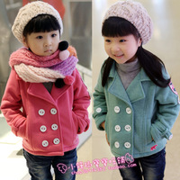 2012 winter girls clothing armbandand wool jacket outerwear baby thickening outerwear winter