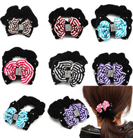 Wholesale 4 pieces 6 colors tiny Hair accessaries Crystal Rhinestone Bowknot Hair bands Elastic Ties Ponytail Holder 61700-61705