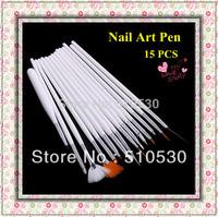 Free Shipping Nail Art Tools 15 pcs nail art pens & brush for design & painting set  For Natural/False & 3D Beauty
