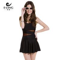 Free shipping 2014 Swimwear black women's one-piece swimsuit hot springs push up swimwear skirt