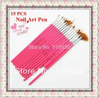 Free Shipping 15 pcs Hot-Pink Handle Nail Art Tools nail art pens & brush for design & painting set