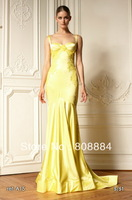 Free Shipping Zuhair Murad Custom Made Yellow Soft Satin Lace appliques With straps Mermaid Dress Evening Gown