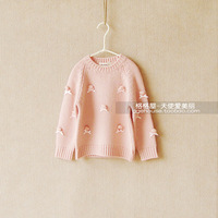 Pettcoco wool blending pink stereo spherule sweater sweet female child autumn and winter