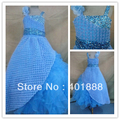 ball gown spaghetti straps organza tiered sequins pageant kids party wear dresses for girls