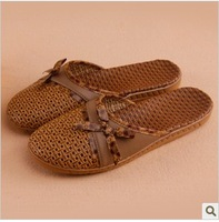 free shipping 2013 lovers slippers summer rattan floor at home slippers home shoes