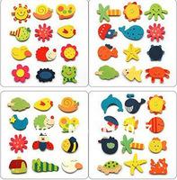 Free shiping promotional 12pcs/opp bag  Wooden Cartoon Fridge Magnet Sticker