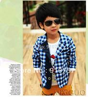 The new 2013 han edition spring clothing children's clothing boy leisure plaid blazer