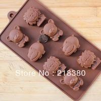 Silica gel chocolate diy handmade soap cold soap mould 8 bear lion hippopotami animal cake mould