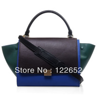 Popular Trapeze genuine leather top quality smiley bags with logo coffee/blue/deep green colour block free shipping