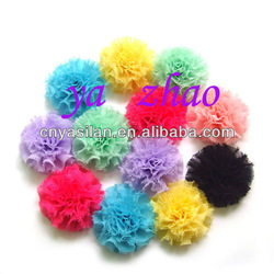 "Trial order 2-2.3"" Pretty chiffon puff /baby hair flower /accessories for children, 65pcs/lot Mix 13 color(China (Mainland))"