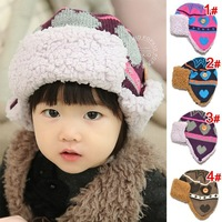 ``Jacquard love plus velvet child ear lei feng cap male hat child autumn and winter warm hat