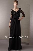2013 New Arrival Black V Neck Beaded Top Bodice 3/4 Sleeve Floor Length Mother of the Bride Dresses