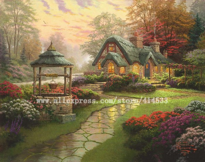 Thomas Kinkade prints Original oil painting Make a wish cottage reproduction on canvas modern wall painting hotel Home decor(China (Mainland))