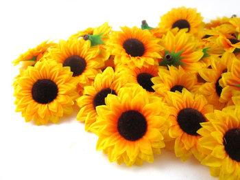 """100X Sun flower Artificial Silk Flower Heads   1.5"""""""