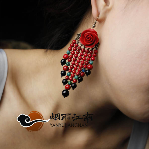 FREE SHIPPING Earrings festive tassel gift girlfriend gifts wedding gift red rose female(China (Mainland))