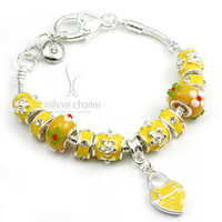 Fashion European Style 925 Silver Crystal Charm Bracelets for Women With Yellow Chamilia Glass Beads Handmade Jewelry PA1339