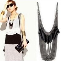 Min.order is $10 (mix order) Black Stone Multi Tasse Triangle Necklace Black drop tassel  Multilayer Tassel  Free shipping N0180