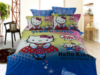 Hot Beautiful 100% Cotton 4pc Doona Duvet QUILT Cover Set bedding set Full / Queen/ King size 4pcs cartoon blue hello kitty