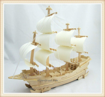 Children's Educational DIY Merchant Ship 3D Wooden Jigsaw Puzzle Toys Great Home Display Models Free Shipping