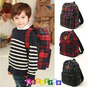 Child school bag elementary student boy backpack cotton cloth fashion plaid(China (Mainland))