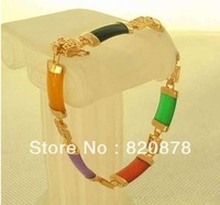 FASHION CHARMING 18KGP GOLD PLATED COLORFUL JADE BRACELET AAA