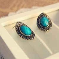 (Min.order is $10 )Fashion Europe vintaged Carve oval earrings !  Free shipping E2134