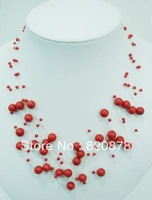 "Wholesale Charming red coral starriness beads necklace 17.5""  fashion jewelry"