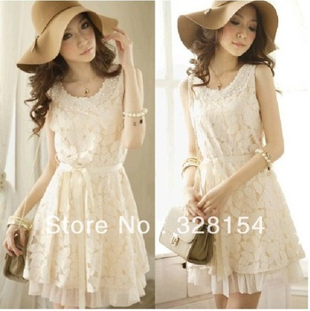2013 spring new summer fashion womens casual  vintage sleeveless lace party dress White flower  vestidos novelty tunic dresses