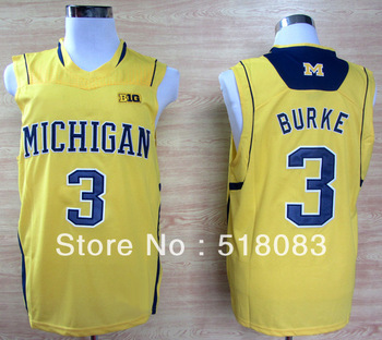 Free Shipping Michigan Wolverines 3 Trey Burke 3 Big 10 Patch Yellow Cheap NCAA  Basketball Jersey Embroidery logos Size 44-56