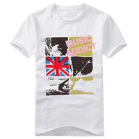 Wholesale 2013 Fashion Flag Print Men's Cotton Short-Sleeve T-Shirts Free Shipping