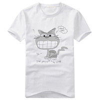 2013 summer hot sell  Men Tees cute Cat Printed Cotton Short-Sleeve Wholesale Fashion Cool Mens T-Shirts Free Shipping