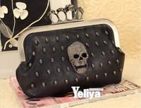New Fashion Diamond Skeletons Rings Decoration Women Wallet Skull Clutch Wallet Handbag Noble Elegent Luxurious Evening Bag