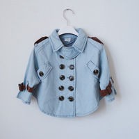 2013 children's spring clothing female child vintage denim casual double breasted batwing sleeve poncho outerwear top